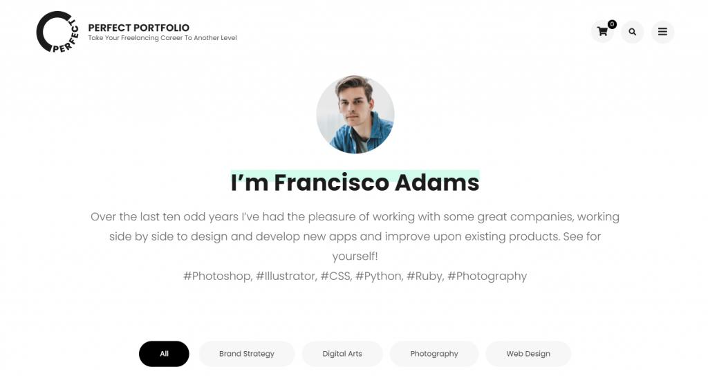 Perfect Portfolio WordPress theme ss