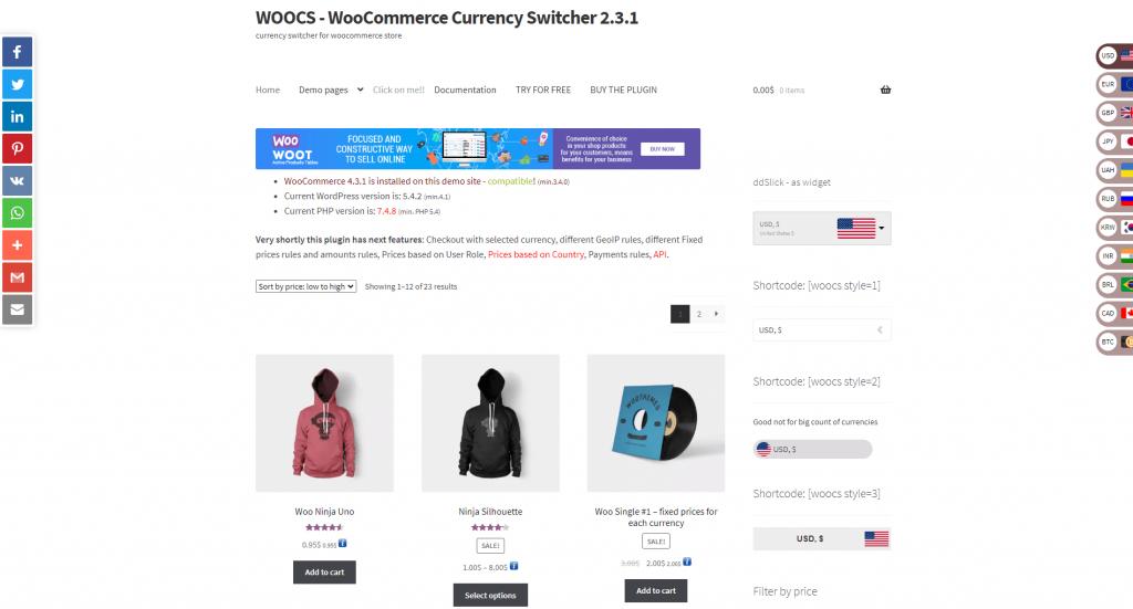 WooCommerce Currency Switcher Plugin Screenshot