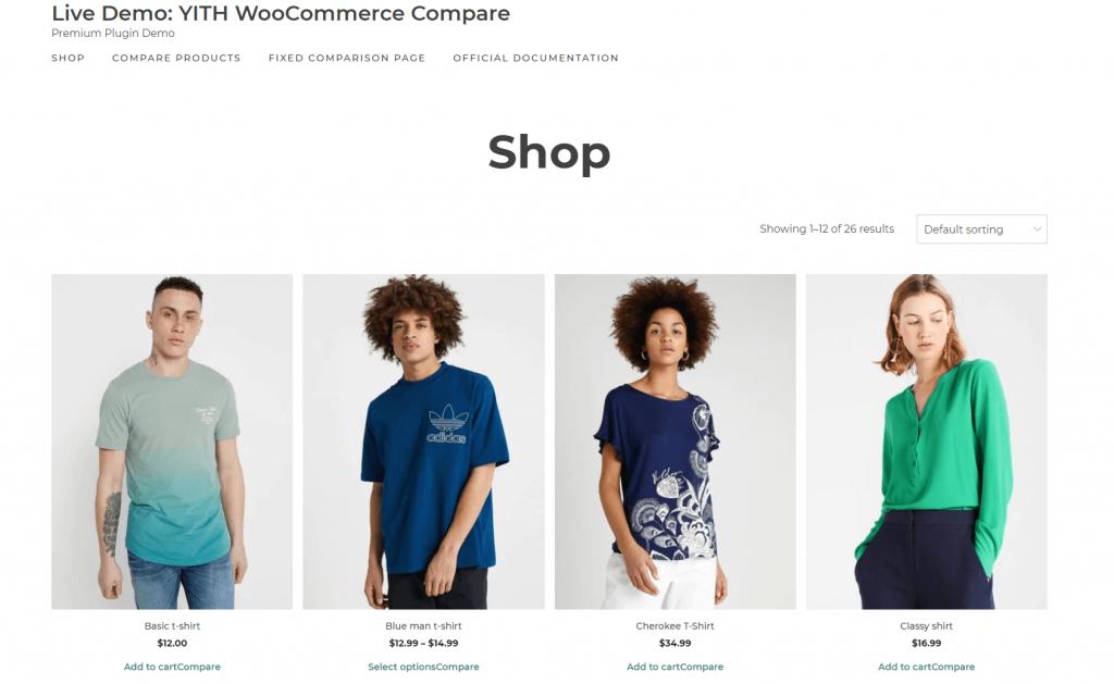 YITH WooCommerce Compare plugin Screenshot