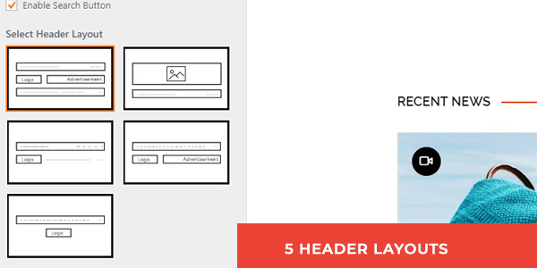 PRO: FIVE HEADER LAYOUT AVAILABLE