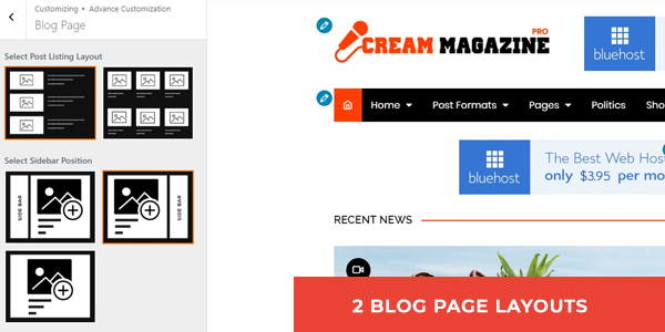 PRO: TWO BLOG PAGE LAYOUT AVAILABLE